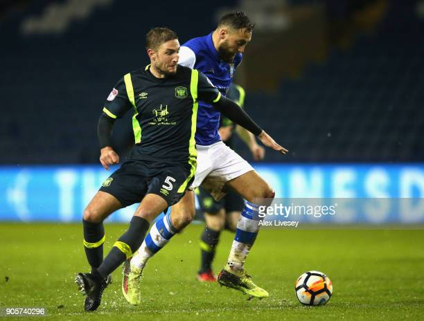 Atdhe Nuhiu of Sheffield Wednesday beats Gary Liddle of Carlisle United as he breaks through to score their second goal during The Emirates FA Cup...