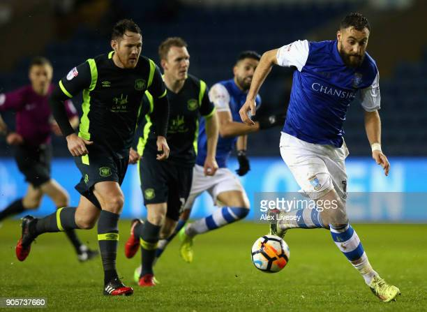 Atdhe Nuhiu of Sheffield Wednesday breaks through to scors their second goal during The Emirates FA Cup Third Round Replay match between Sheffield...