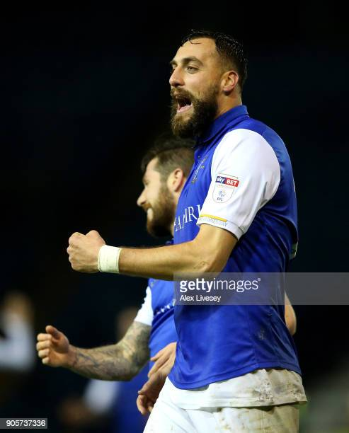 Atdhe Nuhiu of Sheffield Wednesday celebrates as he scores their second goal during The Emirates FA Cup Third Round Replay match between Sheffield...