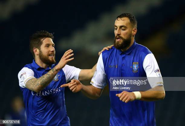 Atdhe Nuhiu of Sheffield Wednesday celebrates as he scores their second goal with Jacob Butterfield during The Emirates FA Cup Third Round Replay...