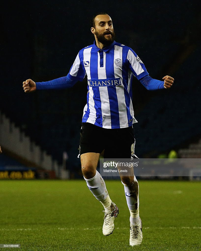Atdhe Nuhiu of Sheffield Wednesday celebrates his goal during The Emirates FA Cup Third Round match betwen Sheffield Wednesday and Fulham at Hillsborough Stadium on January 9, 2016 in Sheffield, England.