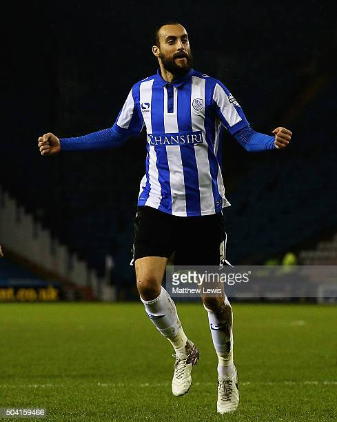 Atdhe Nuhiu of Sheffield Wednesday celebrates his goal during The Emirates FA Cup Third Round match betwen Sheffield Wednesday and Fulham at...