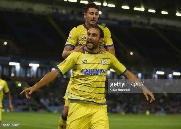 Atdhe Nuhiu of Sheffield Wednesday celebrates with team mate Gary Madine after scoring his teams first goal from the penalty spot during the Capital...