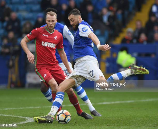 Atdhe Nuhiu of Sheffield Wednesday fires in a shot during Emirates FA Cup Fifth Round match between Sheffield Wednesday and Swansea City at...