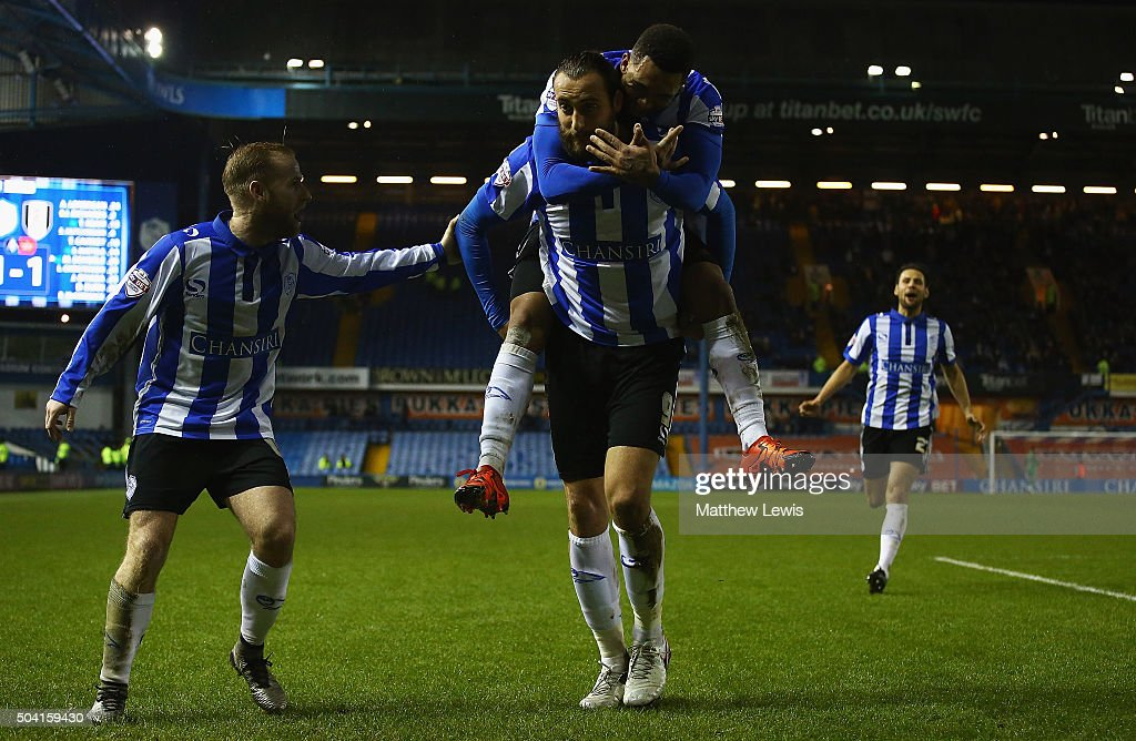 Atdhe Nuhiu of Sheffield Wednesday is congratulated on his goal during The Emirates FA Cup Third Round match betwen Sheffield Wednesday and Fulham at Hillsborough Stadium on January 9, 2016 in Sheffield, England.