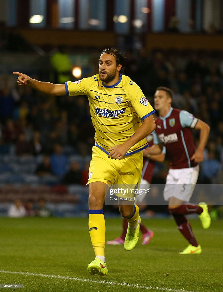 Atdhe Nuhiu of Sheffield Wednesday runs away to celebrate after scoring his teams first goal from the penalty spot during the Capital One Cup Second Round match between Burnley and Sheffield Wednesday at Turf Moor on August 26, 2014 in Burnley, England.