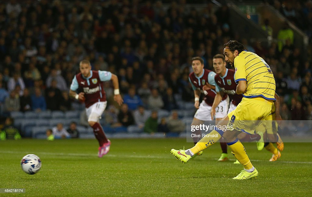 Atdhe Nuhiu of Sheffield Wednesday scores his teams first goal from the penalty spot during the Capital One Cup Second Round match between Burnley and Sheffield Wednesday at Turf Moor on August 26, 2014 in Burnley, England.