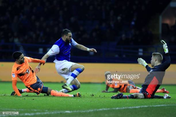 Atdhe Nuhiu of Sheffield Wednesday scores the 2nd Sheffield Wednesday goal during The Emirates FA Cup Fourth Round match between Sheffield Wednesday...