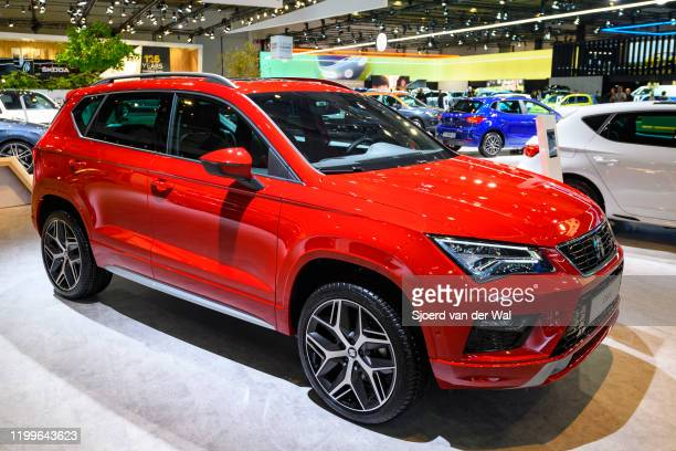 Ateca compact crossover SYV on display at Brussels Expo on January 9, 2020 in Brussels, Belgium. The Ateca is available with various petrol and...