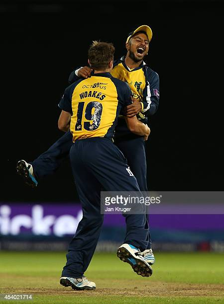 Ateeq Javid and Chris Woakes of Birmingham Bears celebrate the win during the Natwest T20 Blast Final match between Birmingham Bears and Lancashire...