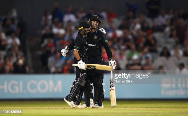 Ateeq Javid and Mohammad Nabi of Leicestershire celebrate after they beat Lancashire during the Vitality Blast match between Lancashire Lightning and...