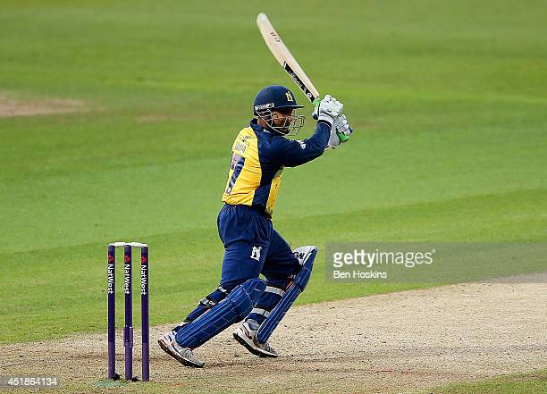 Ateeq Javid of Birmingham in action during the Natwest T20 Blast match between Birmingham Bears and Nottinghamshire Outlaws at Edgbaston on July 8...