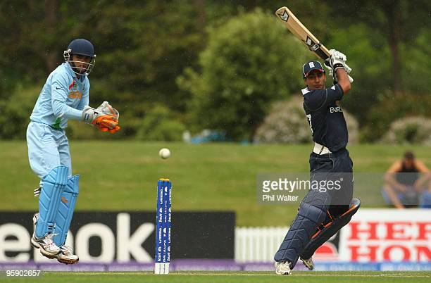 Ateeq Javid of England bats during the ICC U19 Cricket World Cup match between India and England at the Bert Sutcliffe Oval on January 21 2010 in...