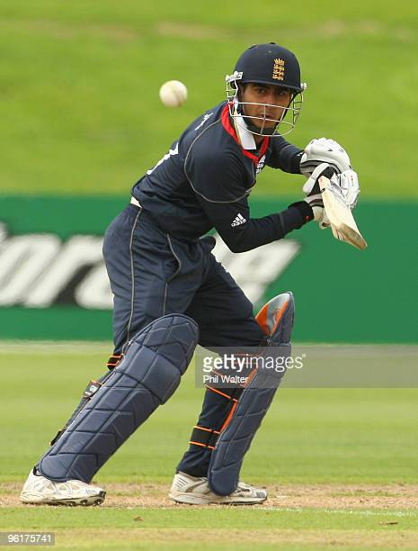 Ateeq Javid of England bats during the ICC U19 Cricket World Cup Super League play off final match between England and New Zealand at QEII Park on...