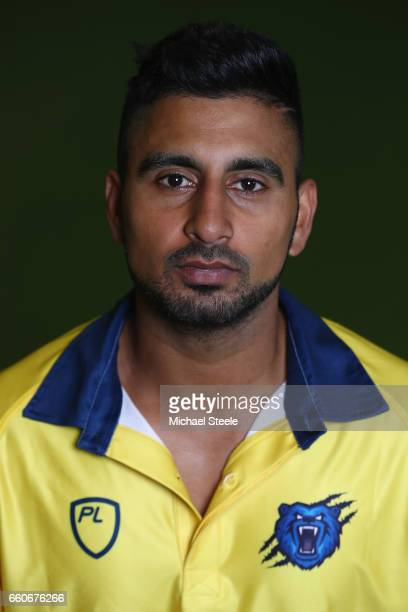 Ateeq Javid of the Birmingham Bears in the NatWest T20 Blast kit during the Warwickshire County Cricket photocall at Edgbaston on March 30 2017 in...