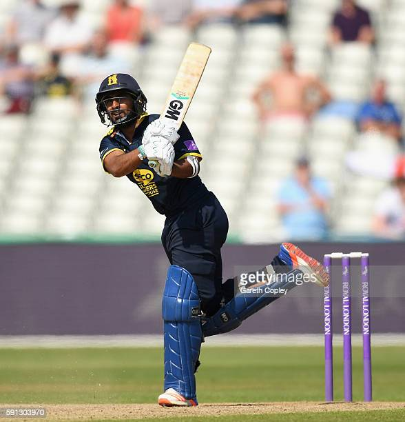 Ateeq Javid of Warwickshire bats during the Royal London OneDay Cup quarter final match between Warwickshire and Essex at Edgbaston on August 17 2016...