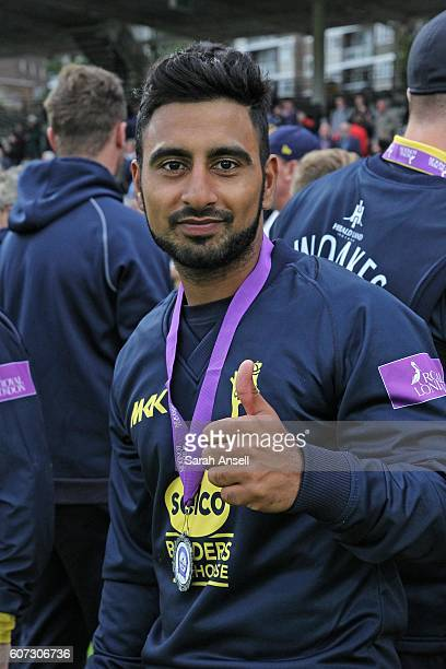 Ateeq Javid of Warwickshire celebrates after winning the Royal London OneDay Cup Final after beating Surrey at Lord's Cricket Ground on September 17...