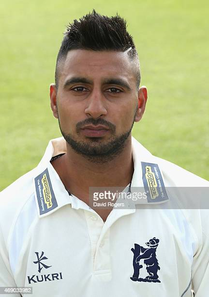 Ateeq Javid of Warwickshire County Cricket Club poses for a portrait at the photocall held at Edgbaston on April 9 2015 in Birmingham England