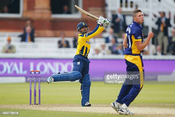 Ateeq Javid of Warwickshire hits a six during the Royal London OneDay Cup Final between Warwickshire and Durham at Lord's Cricket Ground on September...