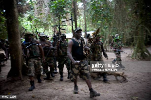 Ateke Tom the big chief of the MEND with his recruits in one of the eleven camps he rules in the mangroves of the Niger delta