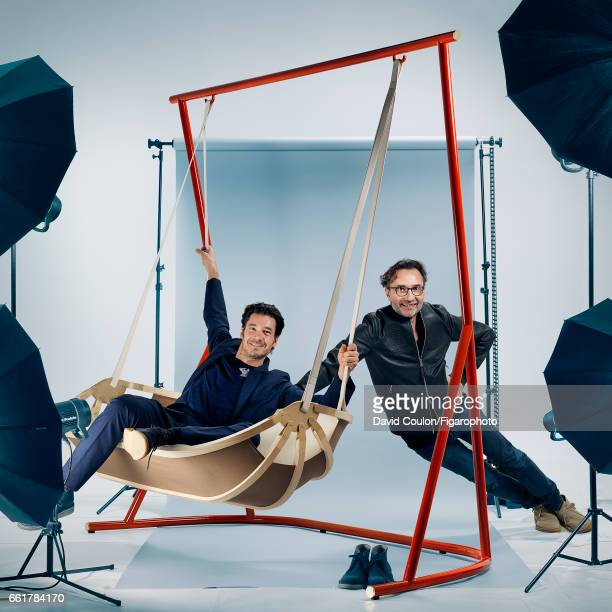 Atelier Oi designers Patrick Reymond and Armand Louis are photographed with their Swing Boat for Madame Figaro on February 2, 2017 in Paris, France....