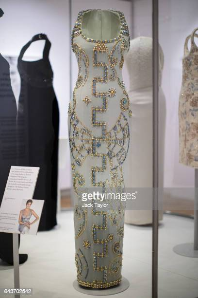 Atelier Versace silk gown worn by Princess Diana at a Harper's Bazaar photoshoot with Patrick Demarchelier on display at a press preview at...