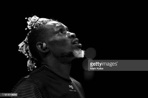 Ater Majok of the Breakers watches on during the warmup before the round three NBL match between the Sydney Kings and the New Zealand Breakers at...