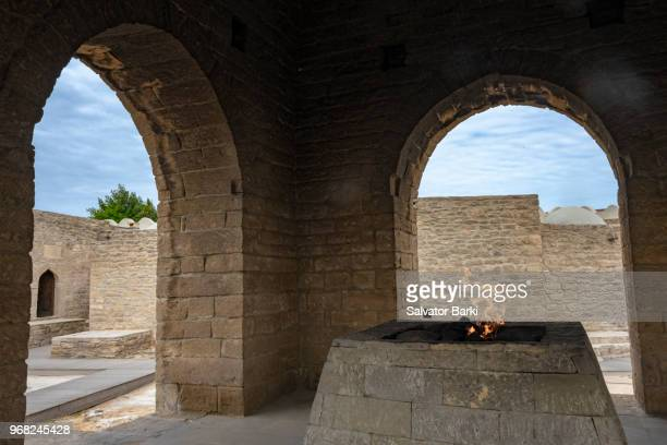 atesgah, the fire temple, azerbaijan - eternal flame stock photos and pictures