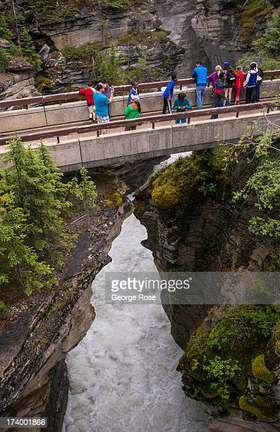 Athabasca Falls is running high and fast due to several powerful summer storms as viewed on June 25 2013 near Jasper Alberta Canada Jasper is the...