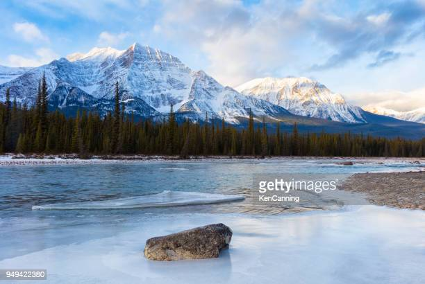 Athabasca River and Canadian Rockies in Winter at Jasper National Park, Canada