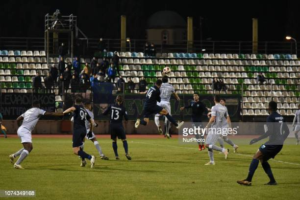 Athanasios Panteliadis of Levadeiakos and Jose Angel Crespo of PAOK fight for the ball during Greece Super League Football match between APO...