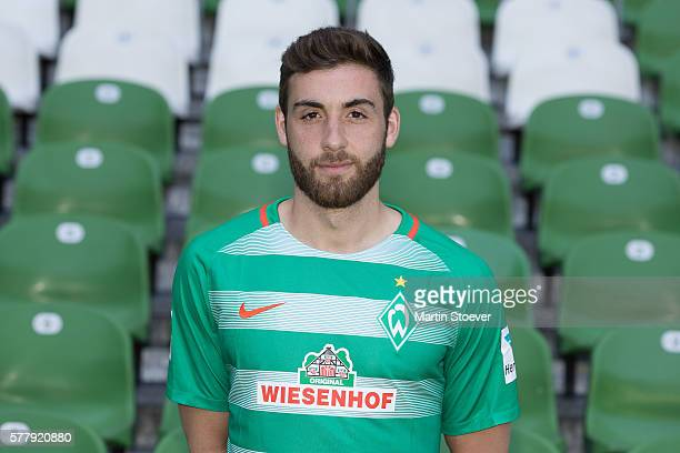Athanasios Petsos poses during the offical team presentation of Werder Bremen on July 20 2016 in Bremen Germany