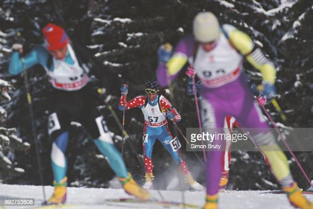 Athanasios Tsakiris of Greece competes in the Men's 20 kilometre individual biathlon competition on 20 February 1992 at the XVI Olympic Winter Games...