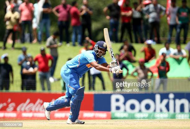 Atharva Ankolekar of India bats during the ICC U19 Cricket World Cup Super League Final match between India and Bangladesh at JB Marks Oval on...