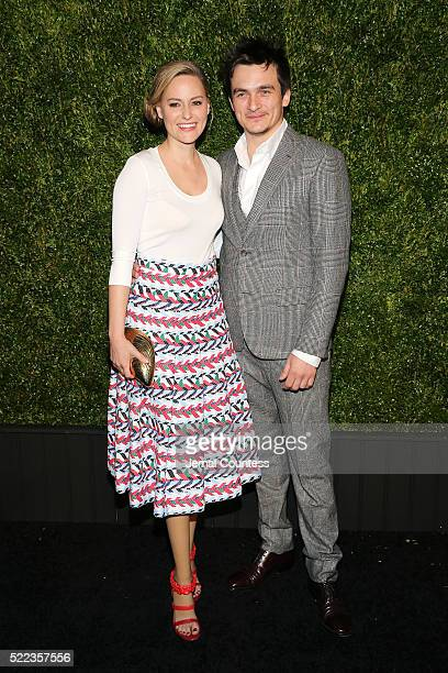 Athelete Aimee Mullins and actor Rupert Friend attend the 11th Annual Chanel Tribeca Film Festival Artists Dinner at Balthazar on April 18 2016 in...