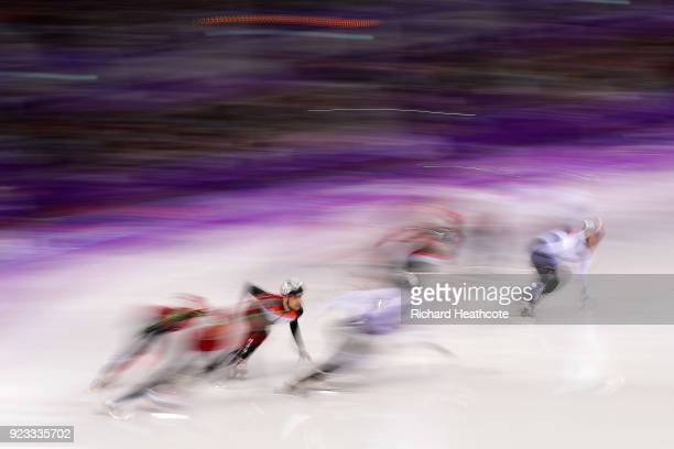 Atheletes compeate during the Short Track Speed Skating Men's 5000m Relay Final A on day thirteen of the PyeongChang 2018 Winter Olympic Games at...