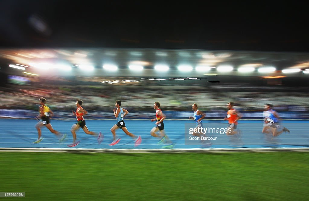 Atheletes compete in the Mens 10000 Meters Open during the Zatopek Classic at Lakeside Stadium on December 8, 2012 in Melbourne, Australia.