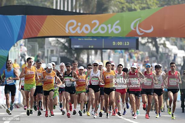 Atheletes during the start of the Men's Marathon T46 Men's Marathon T12 and Women's Marathon T12 at Fort Copacabana on day 11 of the Rio 2016...