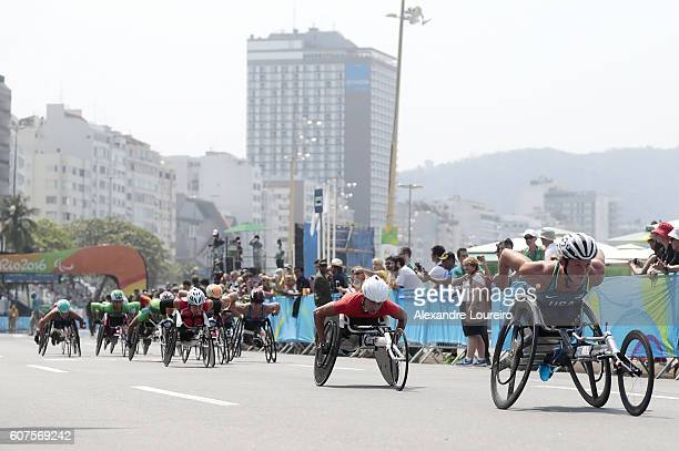 Atheletes during the start of the Women's Marathon T54 at Fort Copacabana on day 11 of the Rio 2016 Paralympic Games at on September 18 2016 in Rio...
