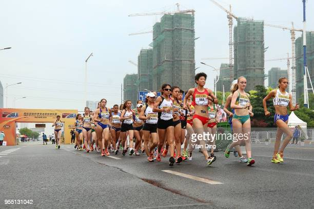 Atheletes start the race during Women's 10 kilometres Race Walk of IAAF World Race Walking Team Championships Taicang 2018 on May 6 2018 in Taicang...