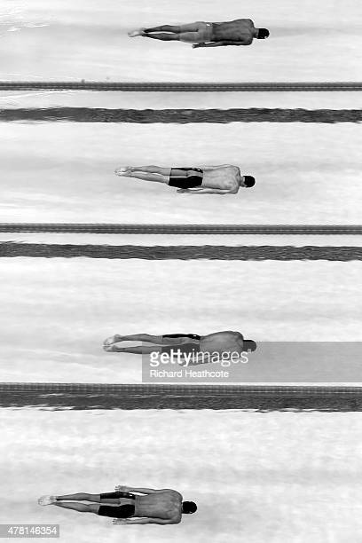 Atheltes compete in the Men's 200m Breaststroke heats during day eleven of the Baku 2015 European Games at the Baku Aquatics Centre on June 23 2015...