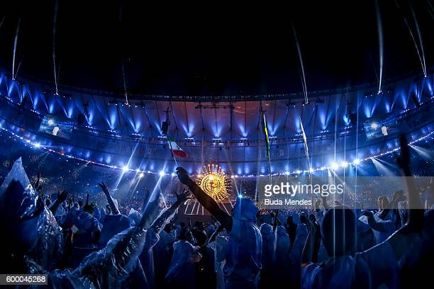 Atheltes enjoy the performance by singer Seu Jorge during the Opening Ceremony of the Rio 2016 Paralympic Games at Maracana Stadium on September 7,...