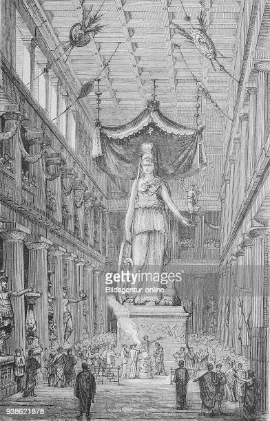 Athena inside the Parthenon in Athens Greece Athene im Inneren des Parthenon in Athen Griechenland digital improved reproduction of a woodcut from...