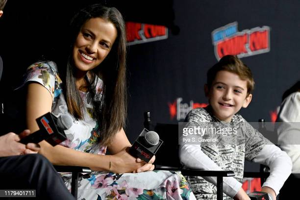 Athena Karkanis and Jack Messina onstage during the Warner Bros Television Block featuring Manifest during New York Comic Con 2019 Day 4 at Hulu...