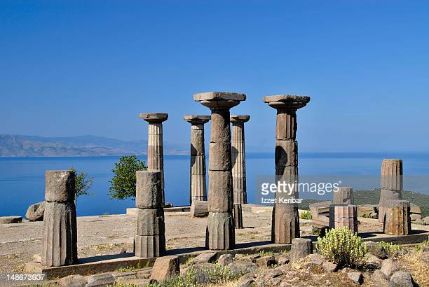 athena temple. - priene stock photos and pictures