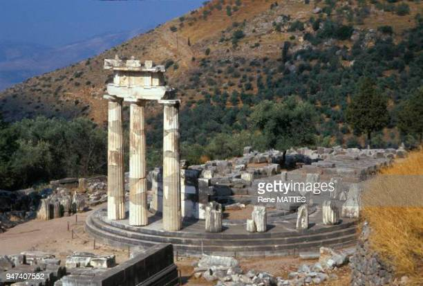Athena's sanctuary and the Tholos devoted to the goddess are located on the site of Marmaria below the site of Delphi The Tholos built around 370 BC...
