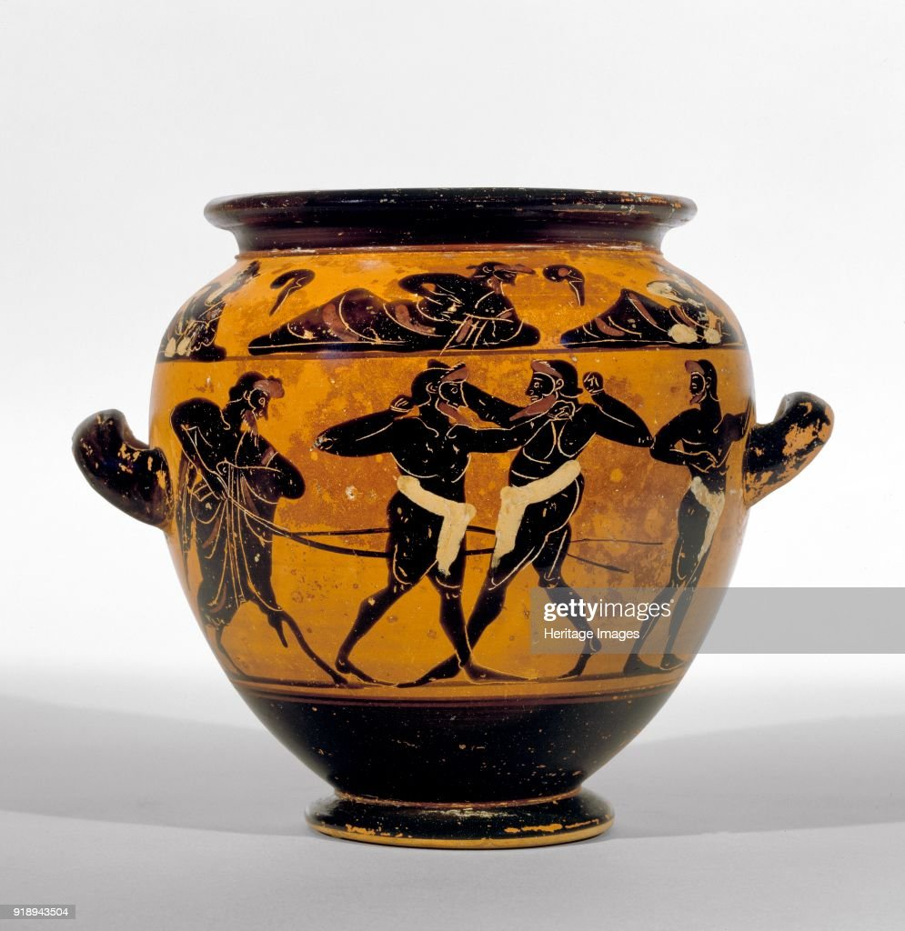 Athenian Black-Figure Stamnos Depicting Athletes Around Belly Of The Vase And A Symposium Of Men And Artist: Michigan Painter. : ニュース写真