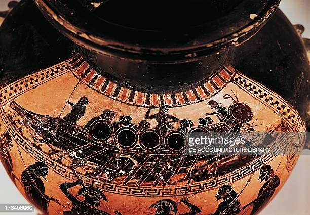 Athenian warship decorative detail of a vase 6th century BC Greek civilisation Paris Musée Du Louvre