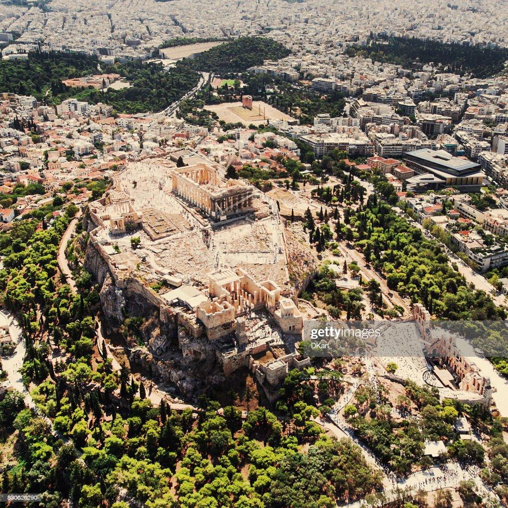Athens Acropolis aerial view : Stock Photo
