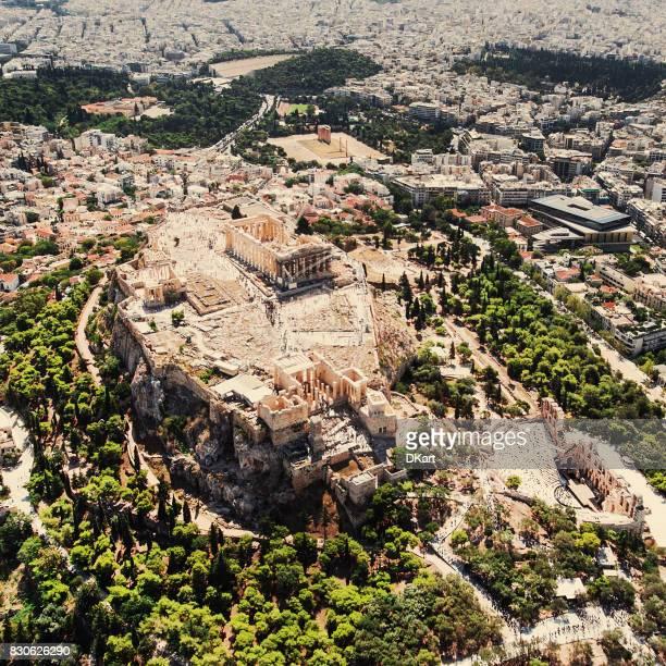 Luchtfoto van de Akropolis van Athene